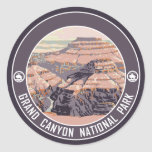 Grand Canyon Vintage Poster Design Round Stickers