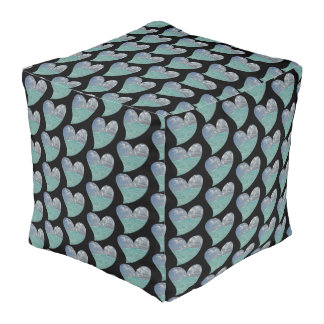 Grand Cayman Heart Cube Pouf