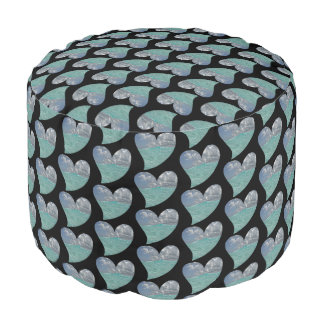 Grand Cayman Heart Round Pouf