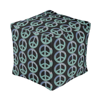 Grand Cayman Peace Sign Cube Pouf