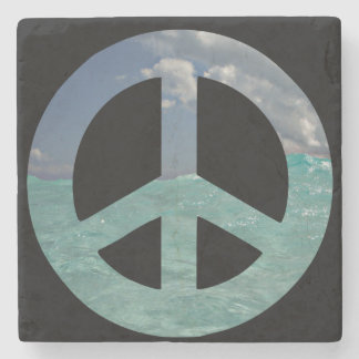 Grand Cayman Peace Sign Stone Coaster