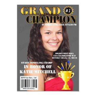 Grand Champion Blue Stars Trophy Magazine Cover 5x7 Paper Invitation Card