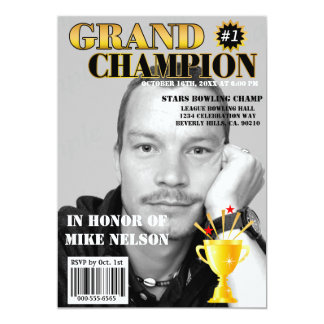 """Grand Champion With Trophy Magazine Cover 5"""" X 7"""" Invitation Card"""