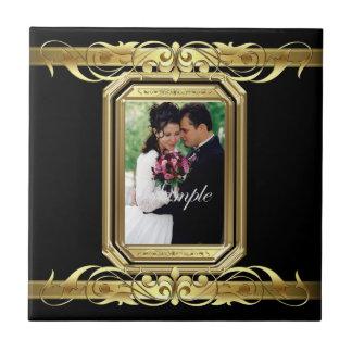 Grand Duchess Add Photo Black Wedding Scroll Tile