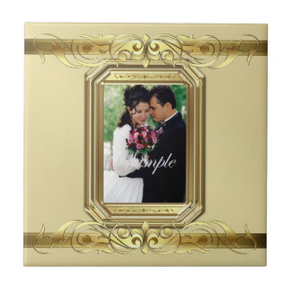 Grand Duchess Add Photo Gold Wedding Scroll Tile
