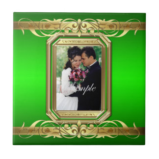 Grand Duchess Add Photo Green Wedding Scroll Tile
