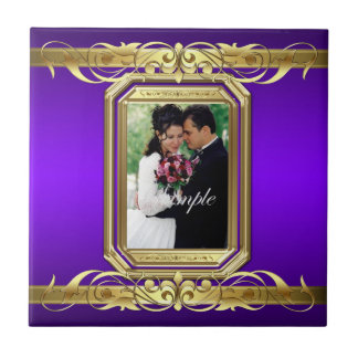 Grand Duchess Add Photo Purple Wedding Scroll Tile