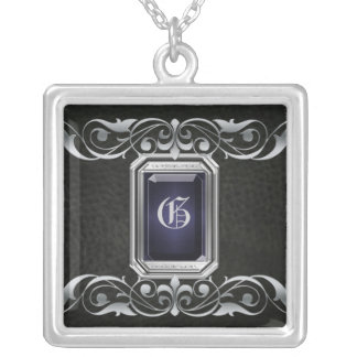 Grand Duchess Black Jewel Silver Scroll Necklace