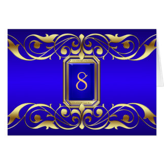Grand Duchess Blue Jewel Gold Scroll Table Card