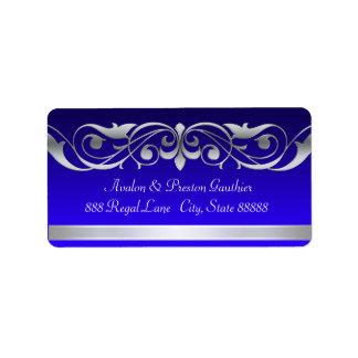 Grand Duchess Blue Silver Scroll Address Labels