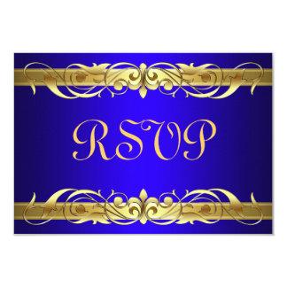 Grand Duchess Gold Scroll Blue RSVP Card