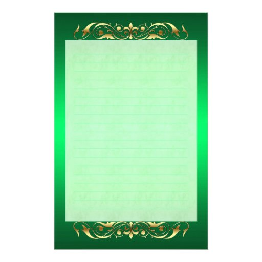 Grand Duchess Gold Scroll Lined Green Stationery