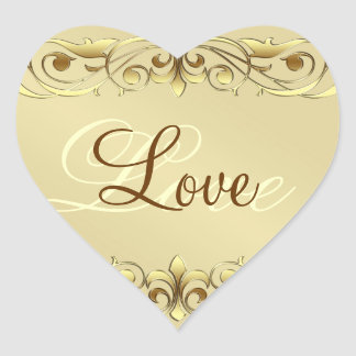 Grand Duchess Gold Scroll Love Heart Stickers