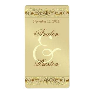 Grand Duchess Gold Scroll Wine Wedding Label