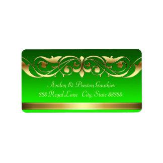 Grand Duchess Green Gold Scroll Address Labels