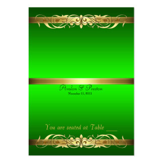 Grand Duchess Green Gold Scroll Table Placecard Business Card
