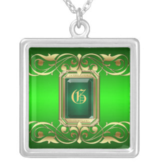 Grand Duchess Green Jewel Gold Scroll Necklace