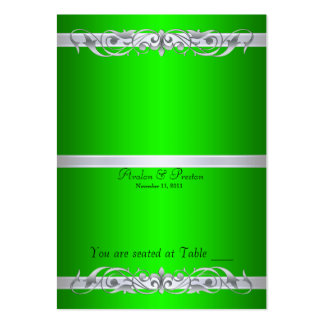 Grand Duchess Green Scroll Folding Table Placecard Business Card Templates