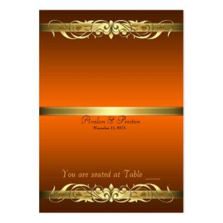 Grand Duchess Orange Gold Scroll Table Placecard Business Cards