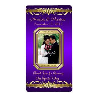 Grand Duchess Purple Photo Gold Wine Wedding Label Shipping Label