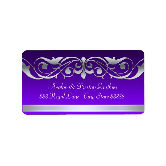 Grand Duchess Purple Silver Scroll Address Labels