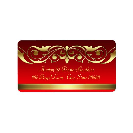 Grand Duchess Red Gold Scroll Address Labels