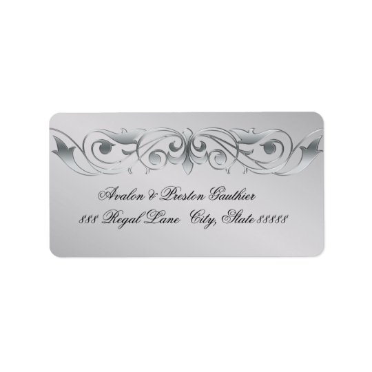 Grand Duchess Silver Metal Scroll Address Labels