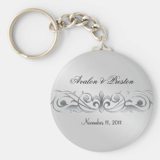 Grand Duchess Silver Metal Scroll  Keychain