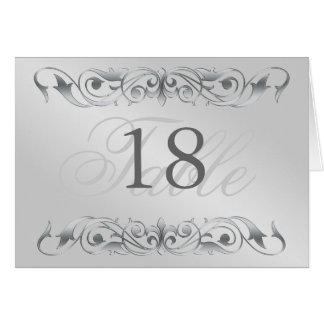 Grand Duchess Silver Metal Scroll Table Card
