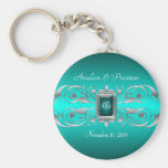 Grand Duchess Silver Monogram Teal Keychain