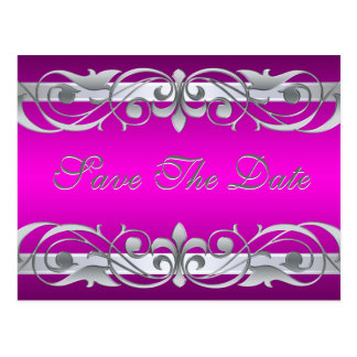 Grand Duchess Silver & Pink Save The Date Postcard