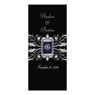 Grand Duchess Silver Scroll Black Wedding Program Customized Rack Card