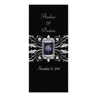 Grand Duchess Silver Scroll Black Wedding Program Rack Card