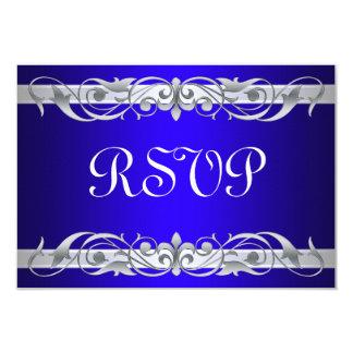 Grand Duchess Silver Scroll Blue RSVP Card 9 Cm X 13 Cm Invitation Card