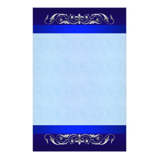 Grand Duchess Silver Scroll  Blue Stationery