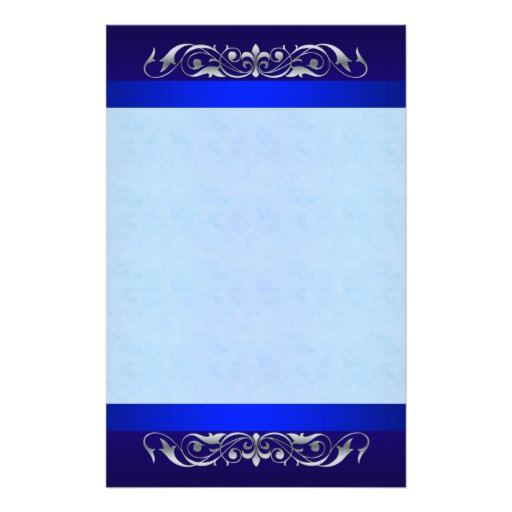 Grand Duchess Silver Scroll  Blue Stationery