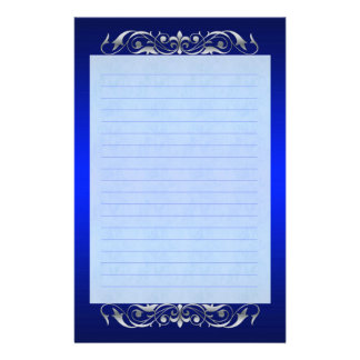 Grand Duchess Silver Scroll Lined Blue Stationery