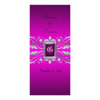 Grand Duchess Silver Scroll Pink Wedding Program Rack Card Design