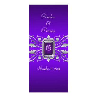 Grand Duchess Silver Scroll Purple Wedding Program Rack Cards