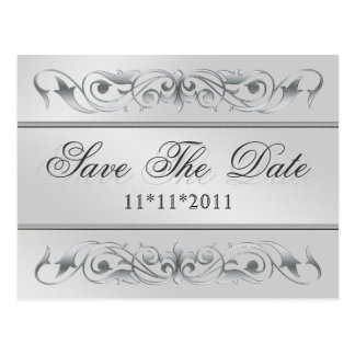 Grand Duchess Silver Scroll Save The Date Postcard