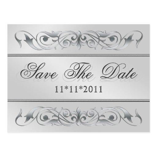 Grand Duchess Silver Scroll Save The Date Postcard