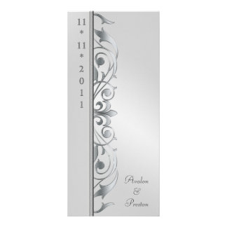 Grand Duchess Silver Scroll Wedding Program Customized Rack Card