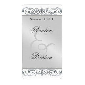 Grand Duchess Silver Scroll Wine Wedding Label Shipping Label