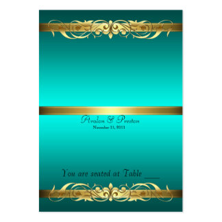 Grand Duchess Teal & Gold Scroll Table Placecard Business Card
