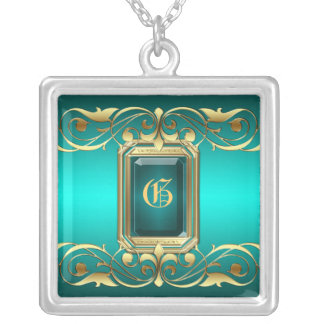 Grand Duchess Teal Jewel Gold Scroll Necklace
