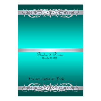 Grand Duchess Teal Scroll Folding Table Placecard Business Cards