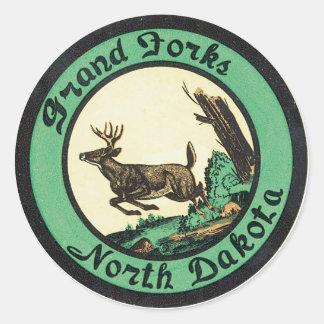 Grand Forks North Dakota Label Round Sticker