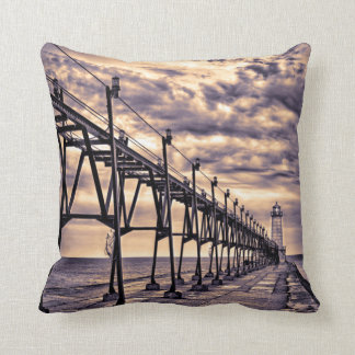 Grand Haven lighthouse and pier, Grand Haven Throw Cushion