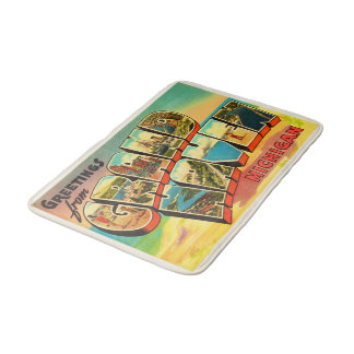 Grand Haven Michigan MI Vintage Travel Souvenir Bath Mats