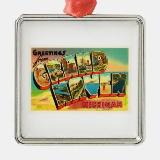 Grand Haven Michigan MI Vintage Travel Souvenir Metal Ornament